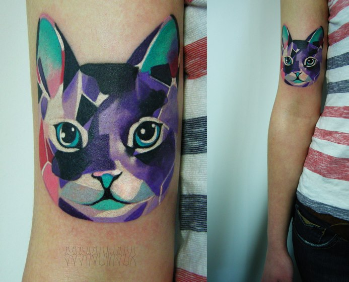 Broken Glass Cat tattoo by Sasha Unisex