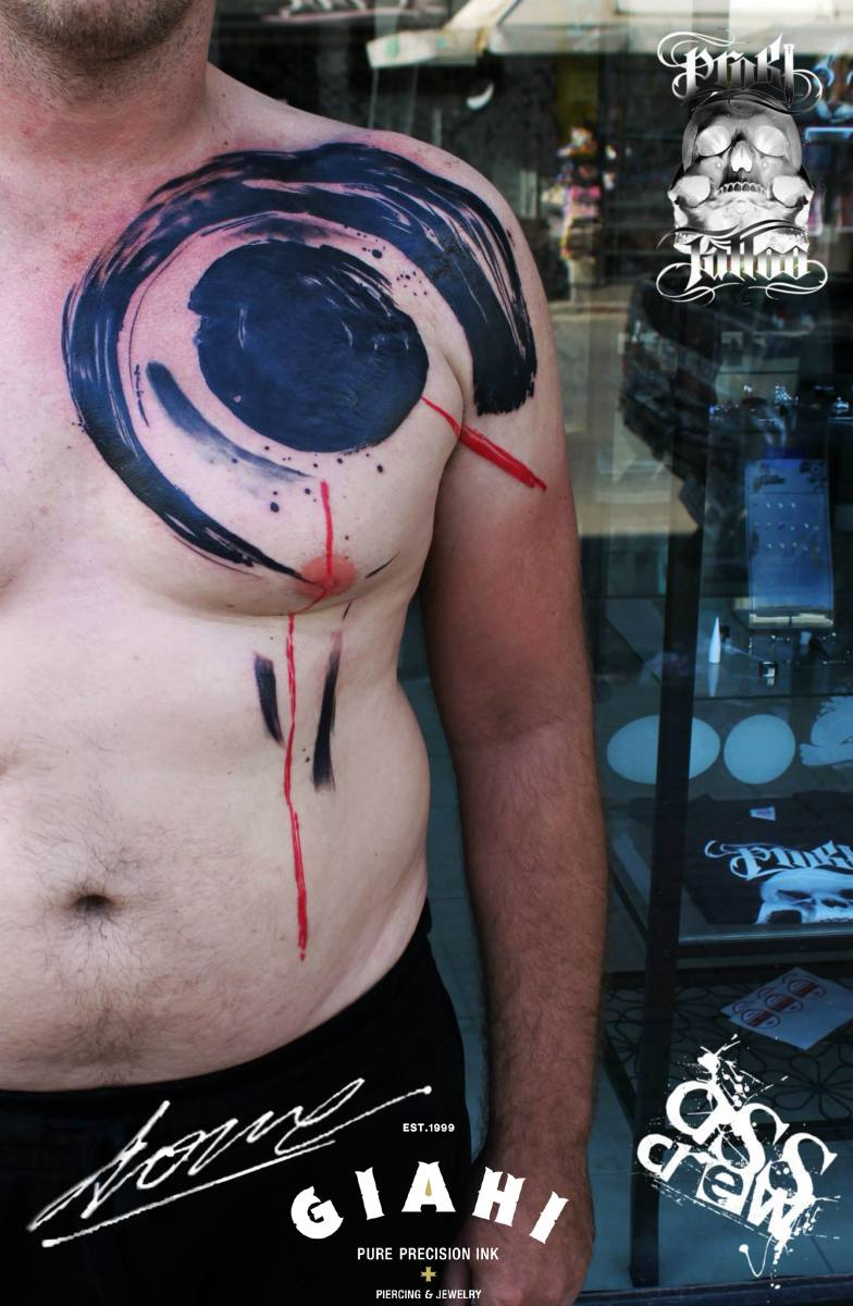 Brush Black Circles tattoo by George Drone