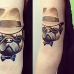 Bulldog in Hat tattoo by Sasha Unisex