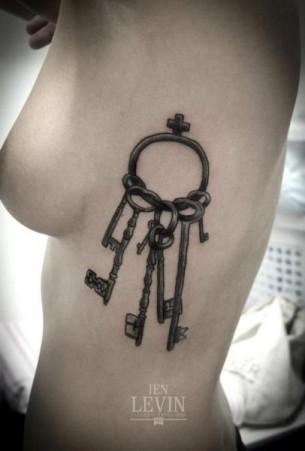 Bunch of Keys Dotwork tattoo by Ien Levin