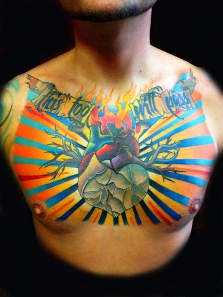 Burning Heart This Too will Pass Lettering tattoo by Transcend Tattoo on Chest