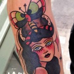 Butterfly Head Girl Old School tattoo by Elda Bernardes