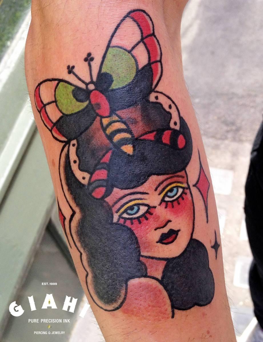 Butterfly Head Girl Old School tattoo by Elda Bernardes
