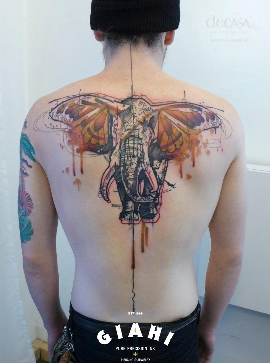 Butterfly Wing Ears Elephant Aquarelle tattoo by Carola Deutsch