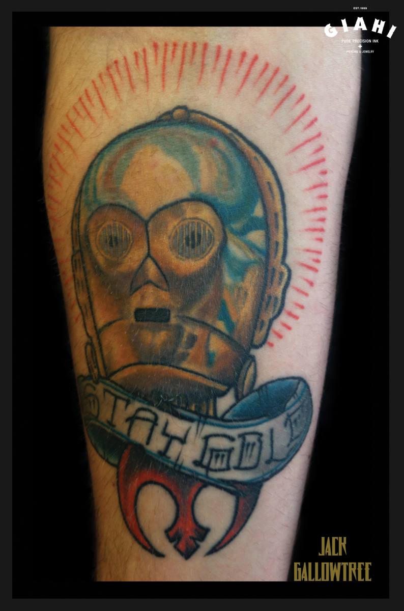 C3PO tattoo by Jack Gallowtree