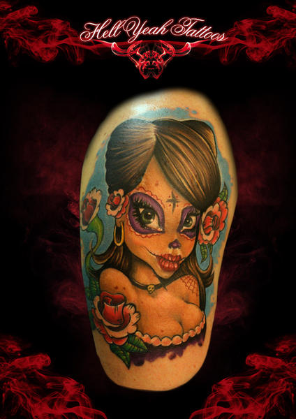 Cartoon Chicano Girl tattoo by Hellyeah Tattoos