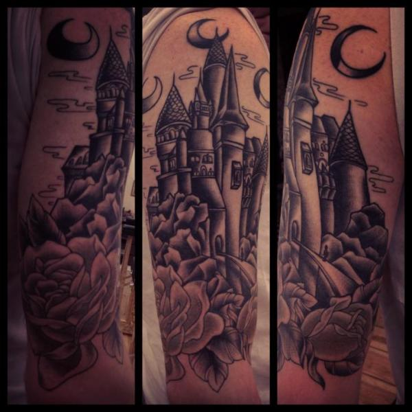 Castle Under Moon Blackwork tattoo by Sarah B Bolen