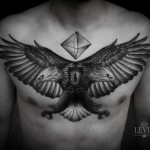Cat Eye Twin Head Eagle Dotwork tattoo by Ien Levin
