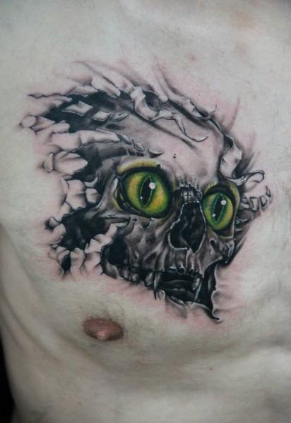 cat eyes look through skin skull tattoo by skin deep art best tattoo ideas gallery. Black Bedroom Furniture Sets. Home Design Ideas