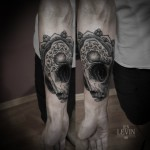 Cat Skull Mandala Dotwork tattoo by Ien Levin