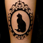 Cat in Frame Blackwork tattoo