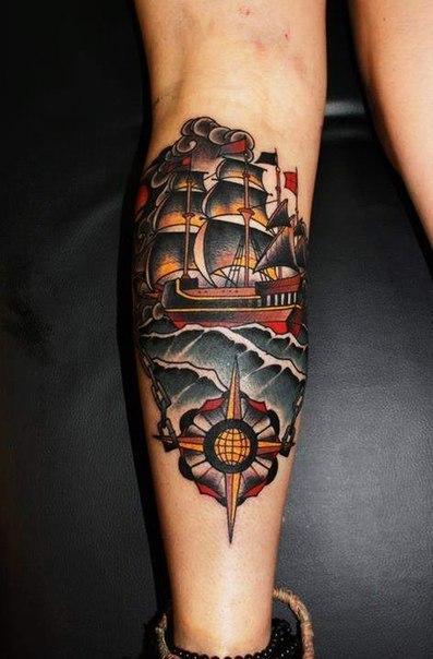 Chain Stick to Course Ship Nautical tattoo
