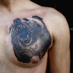 Chest Bear Growl Realistic tattoo by Piranha Tattoo Supplies