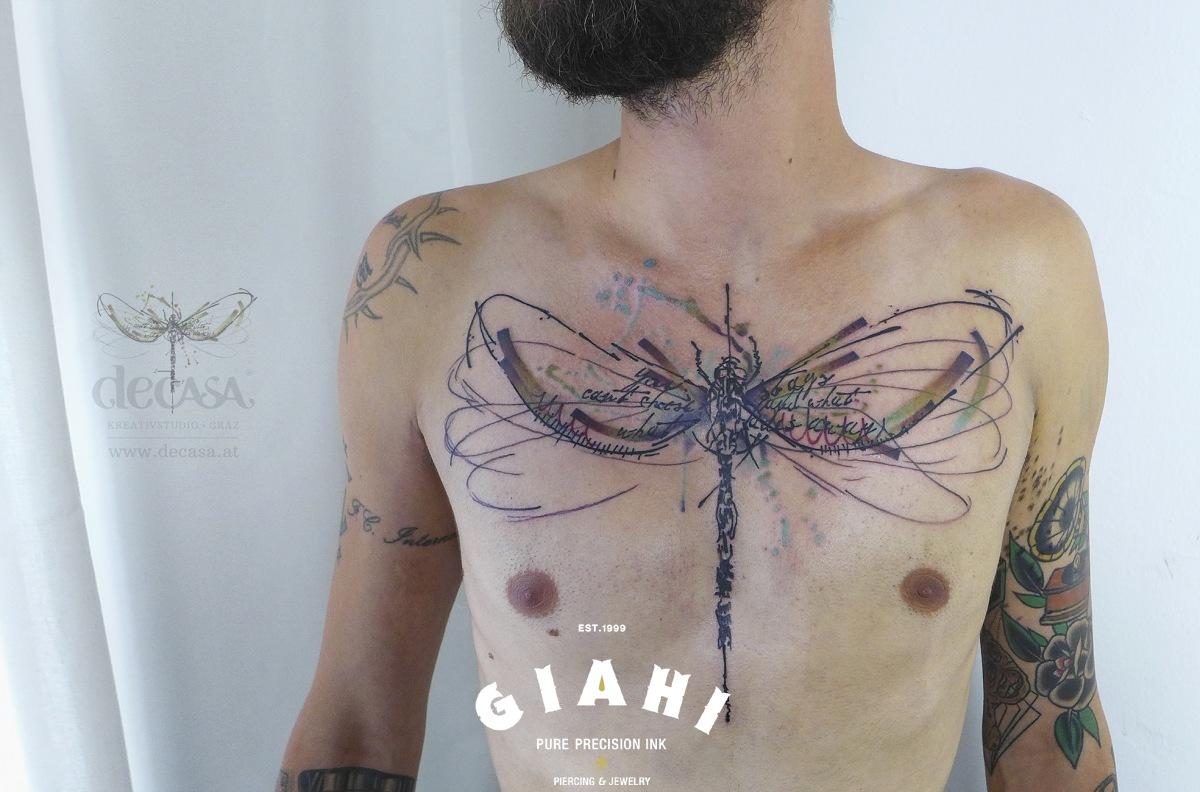 Chest Dragonfly tattoo by Carola Deutsch