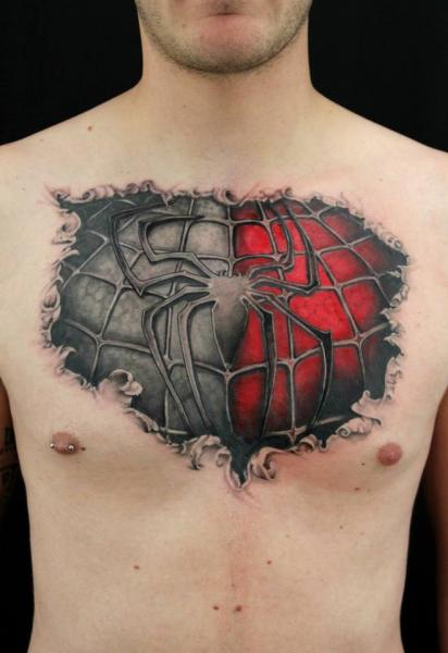 Chest Grey and Real Spiderman tattoo by Skin Deep Art