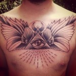 Chest Moon Eye of Providence Graphic tattoo by Sarah B Bolen