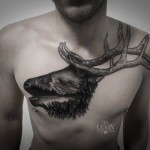 Chest Mountains Stag Dotwork tattoo by Ien Levin