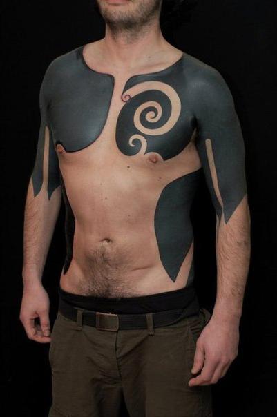 Chest Shoulder And Body Side Blackwork Tattoos Best Tattoo Ideas