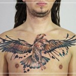 Chest Three Head Eagle Aquarelle tattoo by Julia Rehme