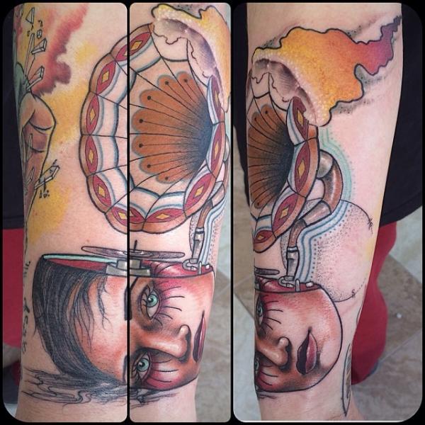 Child Head Cramophone tattoo by Earth Gasper Tattoo