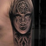 Church Window Face Graphic tattoo by Mumia Tattoo