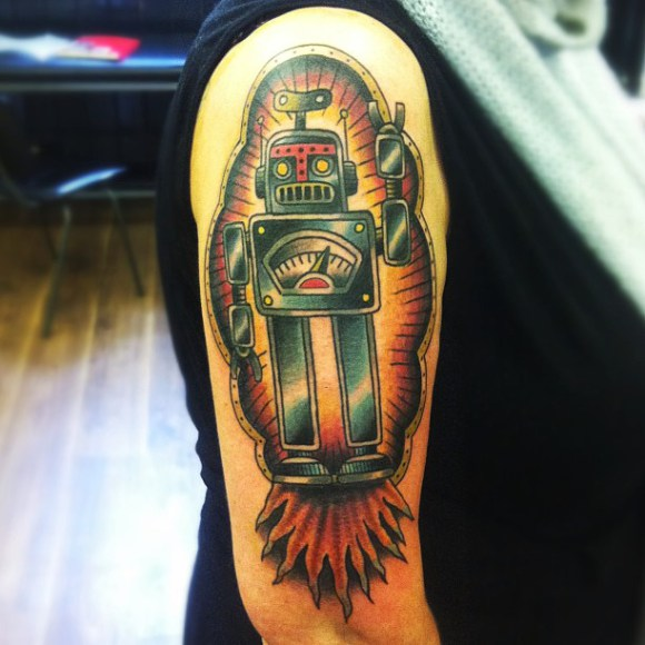 Classic Robot New School tattoo by Matt Cooley