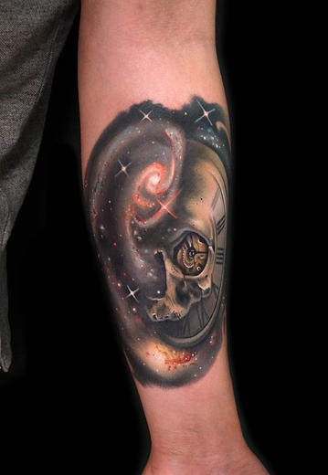 Clock Galaxy Skull tattoo by Andres Acosta