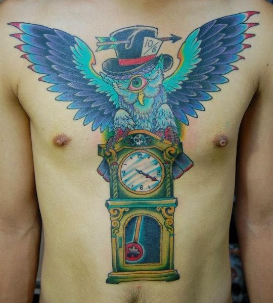 Clock One Eye Owl New School tattoo by Illsynapse