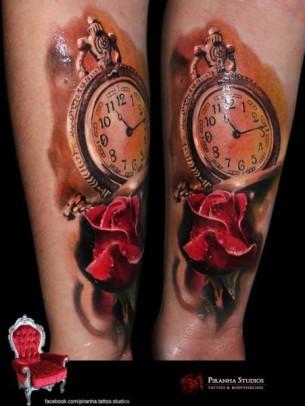 Clock and Rose tattoo by Piranha Tattoo Supplies