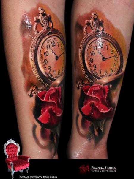 Clock and Rose tattoo by Piranha Tattoo Supplies