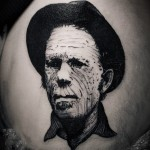 Close-Up Realistic Portrait Blackwork tattoo by Ien Levin