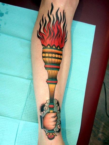 cloud hand torch old school tattoo by three kings tattoo