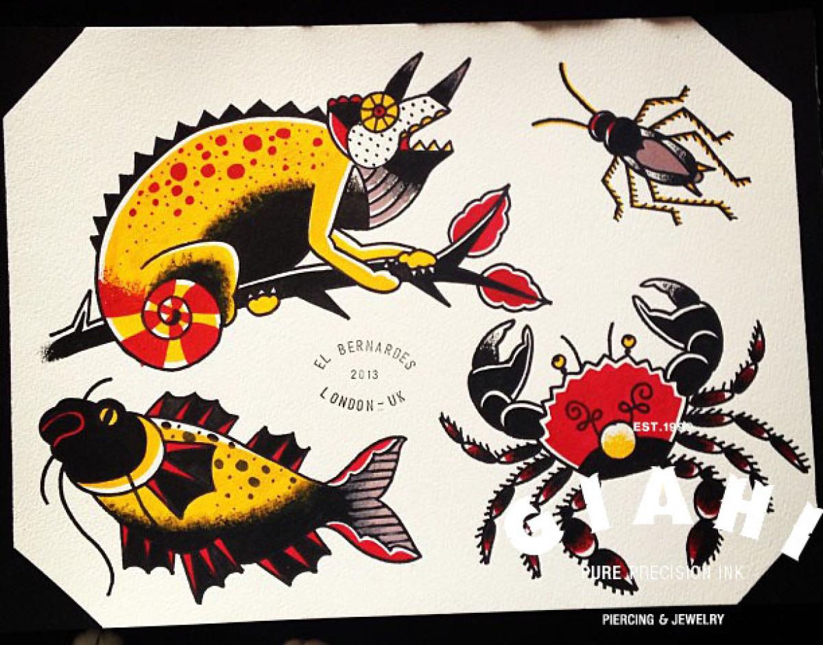 Cocroach Fish Crab Chameleon tattoo idea by Elda Bernardes