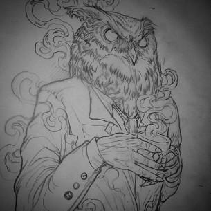 Coffee Drinking Owl tattoo idea