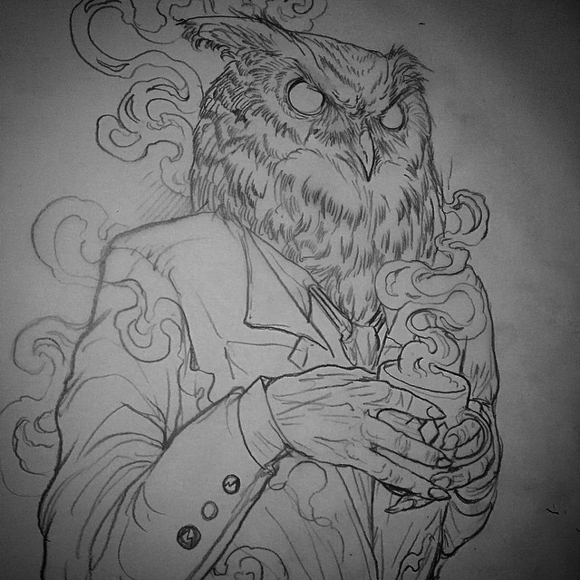 Coffee Drinking Owl tattoo idea by Robert Borbas