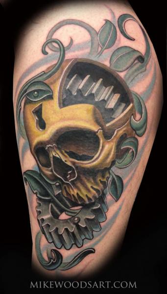 Cogwheels Scull tattoo by Mike Woods
