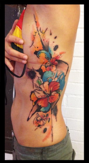 Color Splashes Flowers tattoo by Live Two