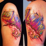 Colorful Chameleon Aquarelle tattoo by Liisa Addi Kask