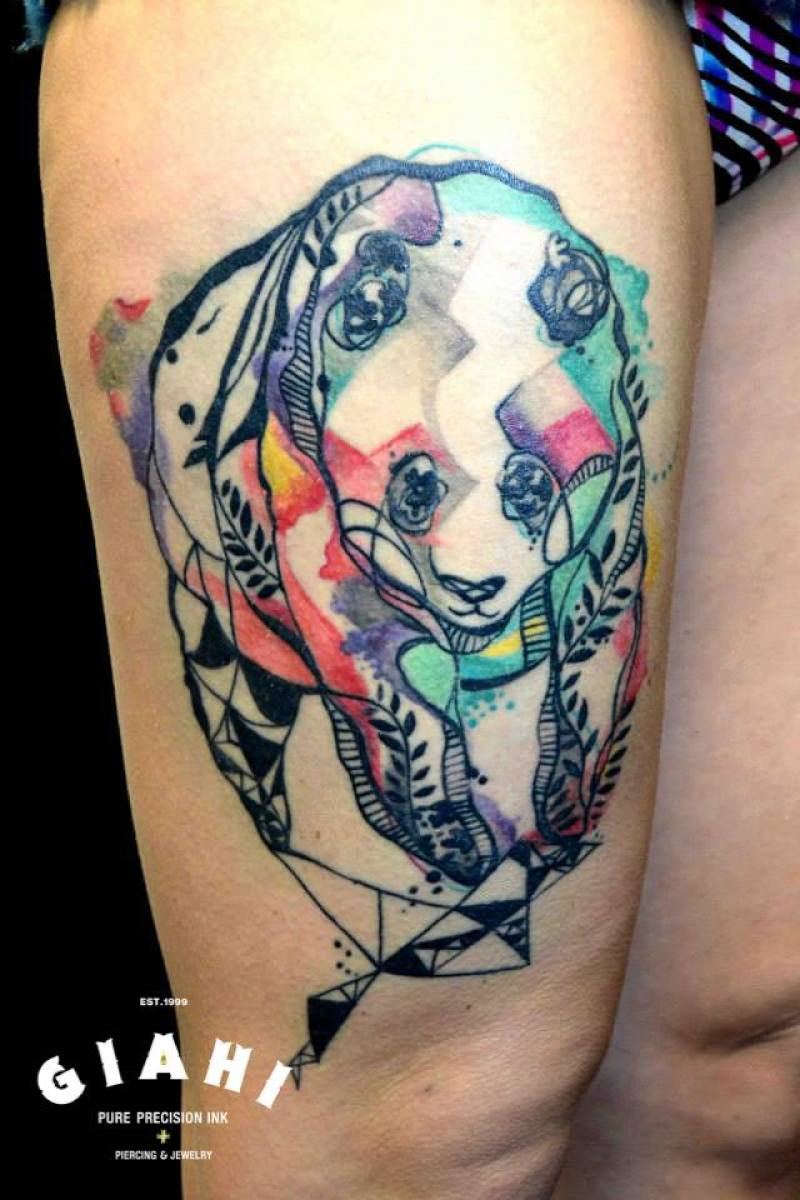 Colorful Panda tattoo by Petra Hlavàckovà