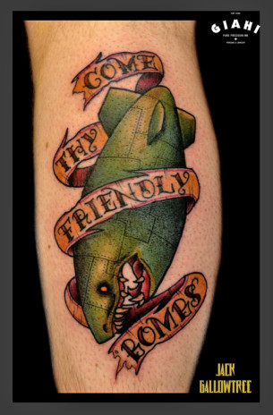 Come Thy Friendly Bombs tattoo by Jack Gallowtree