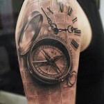 Compas and Clock Realistic tattoo by Mumia Tattoo