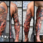 Cool Trash Polka tattoo sleeve by Live Two