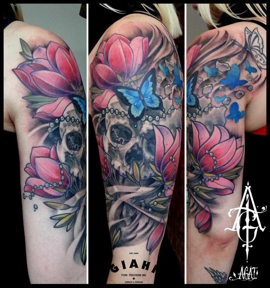 Cracked butterfly flowers skull tattoo by agat artemji for Skull and flowers tattoos