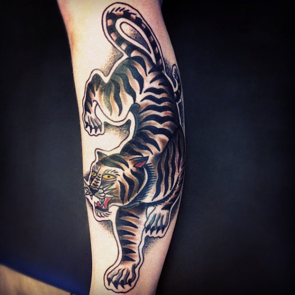 Crawling Tiger Old School tattoo by Matt Cooley