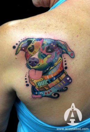 Crazy Abstract Dog tattoo by Andres Acosta
