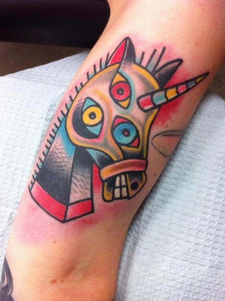 New School Horse Tattoo: Crazy Three Eyes Horse New School Tattoo By Destroy Troy