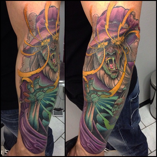 Crazy Wizrd tattoo by Jacob Wiman