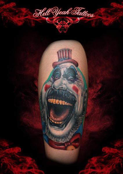 Creepy Funny Clown New School tattoo by Hellyeah Tattoos