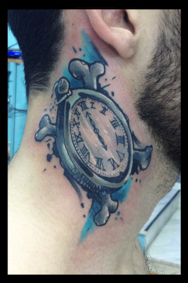 Cross Bones Clock tattoo by Live Two