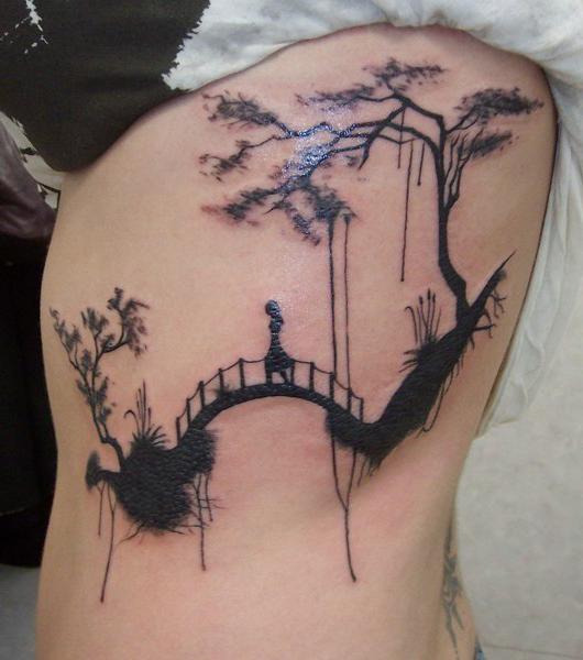 Cross The Bridge Blackwork tattoo